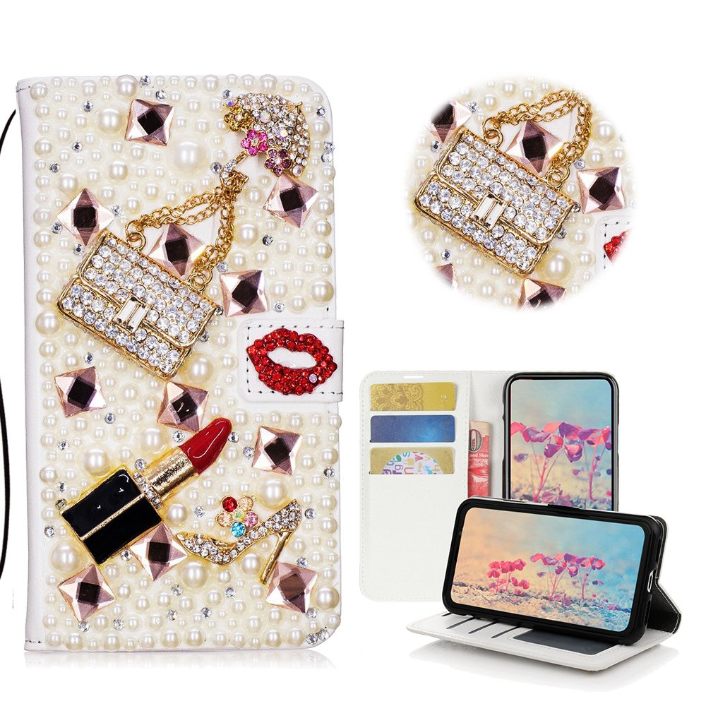 STENES LG Stylo 3 Case, LG Stylo 3 Plus Case - Stylish - 3D Handmade Bling Crystal Girls Bags Lipstick High Heel Wallet Credit Card Slots Fold Media Stand Leather Cover Case - Red