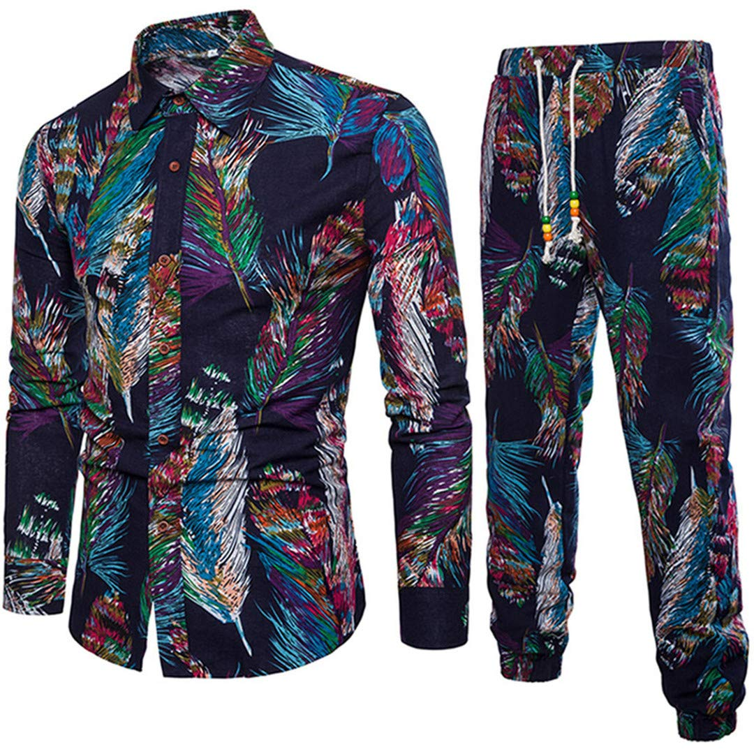 Spring Casual Long Sleeve Bohemian Men Business Slim Fit Shirt Blouse Top+Pants