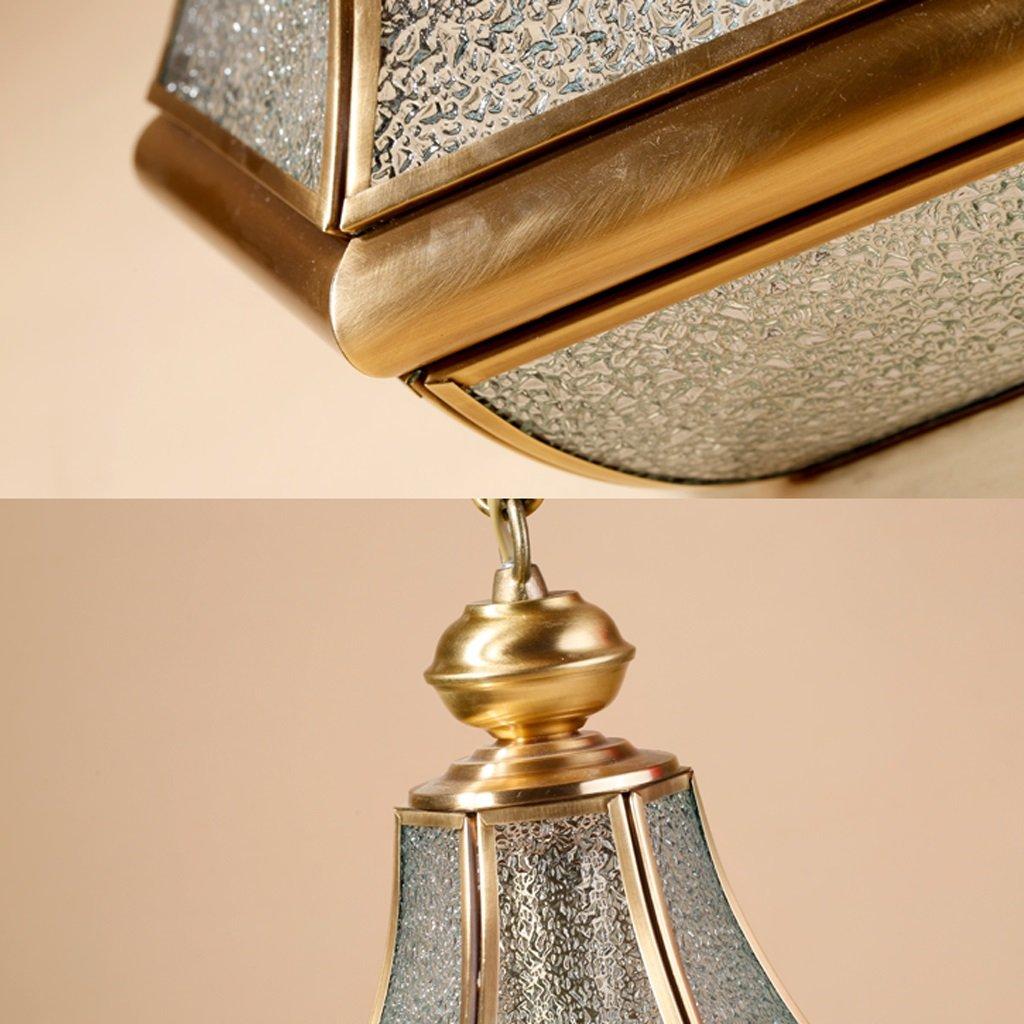 LOFAMI European Style Retro Luxury Copper Chandelier Glass Lampshade E27 Pendant Lamp Living Room Corridor Cafe Study Decoration Ceiling Lamp, 28 32CM by LOFAMI (Image #3)