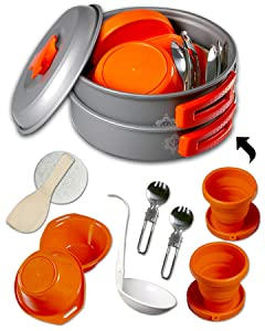 gear4U Camping Cookware Kits - BPA-Free Non-Stick Anodized Aluminum Mess Kits - Complete Lightweight Mini Folding Pot Kits with Utensils for Camping Hiking Backpacking and Survival Cooking