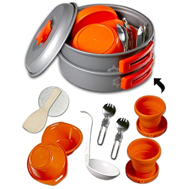 gear4U: Best BPA-Free Camping Cookware 10,13 & 14 Piece Sets - Mess Kit + Free Bonus - Non-Stick Anodized Aluminum - Complete Lightweight Folding Kit for Camping Hiking Backpacking Outdoor Cooking