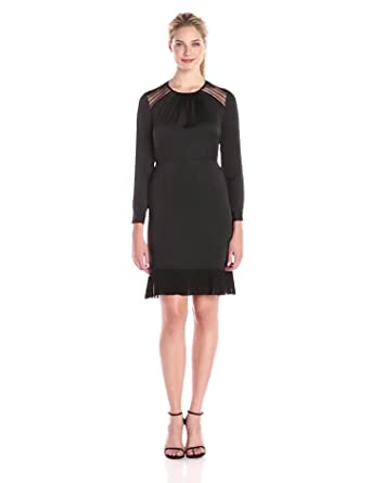 8ccb1c95b56 Amazon.com  Anne Klein Women s Crushed Satin Combo Dress with Lace ...