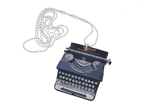 miniblings Collar de Cadena de la máquina de Escribir 80cm Libros Textos Madera LaserPrint XL: Amazon.es: Joyería