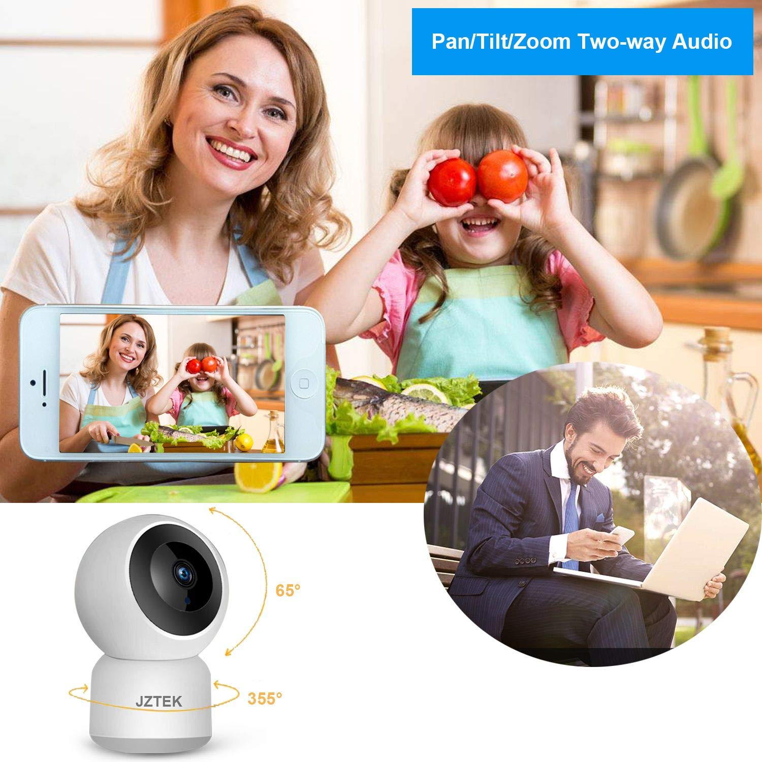 WiFi Dog IP Camera 1080P, JZTEK Smart Wireless Cam Pan/Tilt/Zoom with Cloud Service 3D Image Touch Navigation Panoramic View Night Vision, Two-Way Audio, Motion Detection for Elder,Baby,Pet by JZTEK (Image #3)
