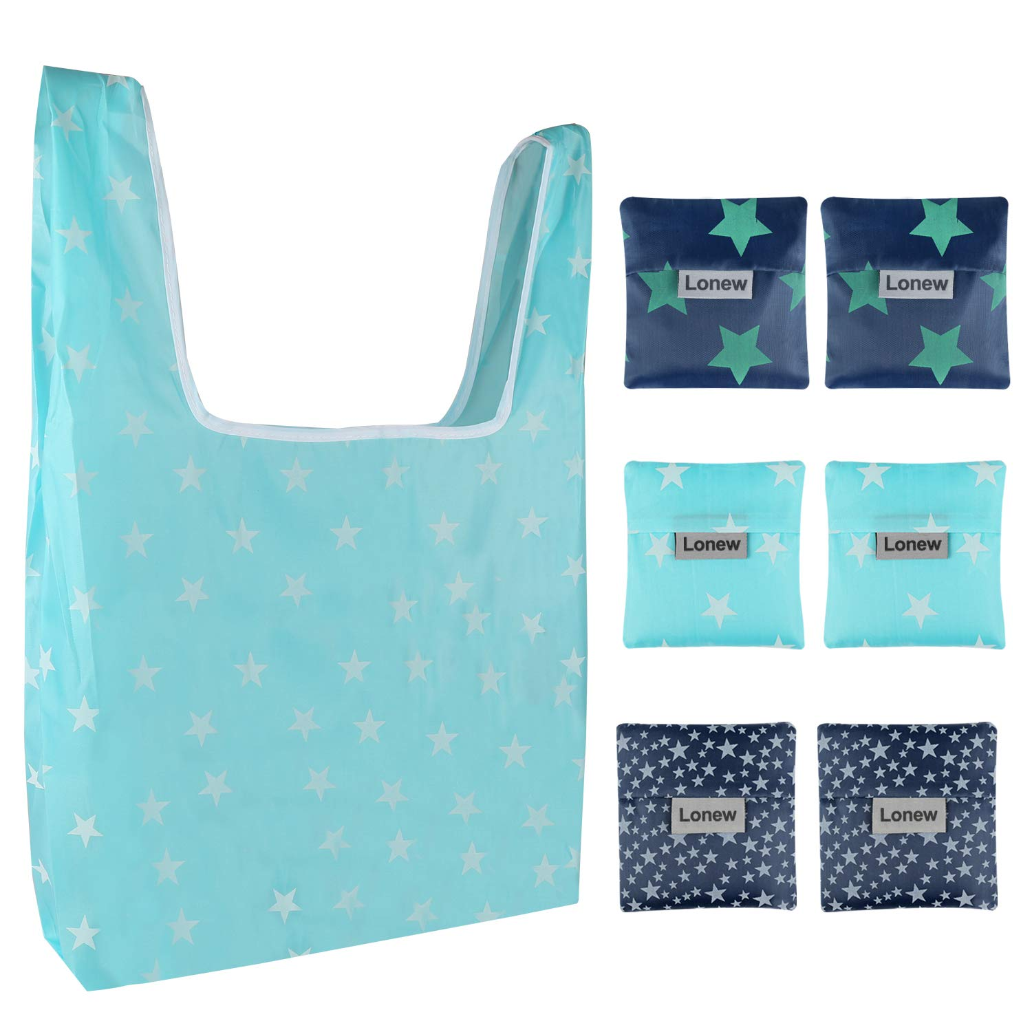 Lonew Folding Reusable Grocery Shopping Bags (6 Pack) - Waterproof Lightweight Large Capacity Portable Tote Bag Environmentally, Durable, Can Withstand Heavy Goods, Machine Washable