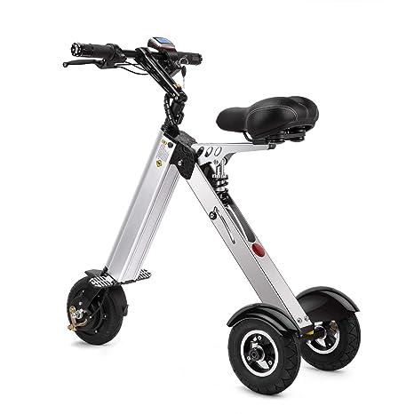 TopMate ES31 Scooter eléctrico Mini Triciclo plegable Peso 14KG con 3 Límites de velocidad 6-12-20KM / H y 3 Amortiguadores de Bicicleta | para viajes ...