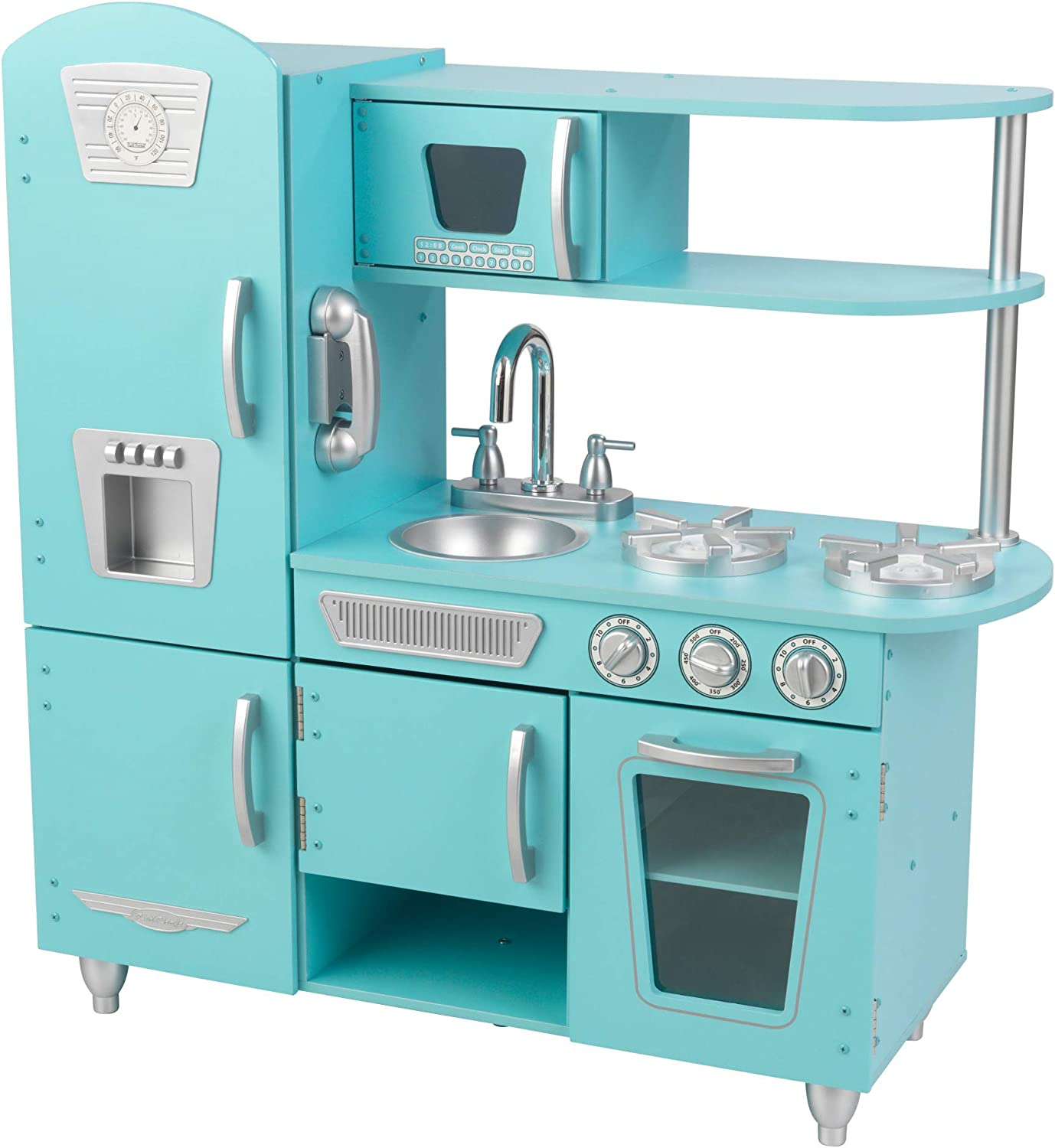 Amazon Com Kidkraft Vintage Wooden Play Kitchen With Pretend Ice Maker And Play Phone Blue Gift For Ages 3 Toys Games