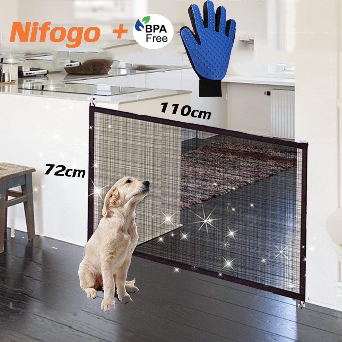 Nifogo Magic Gate Dog, Barrera de Seguridad para Perro, Plegable Portátil Puerta de Seguridad Aislada para Perros y Mascotas,Security Negro(110 x 72 cm)