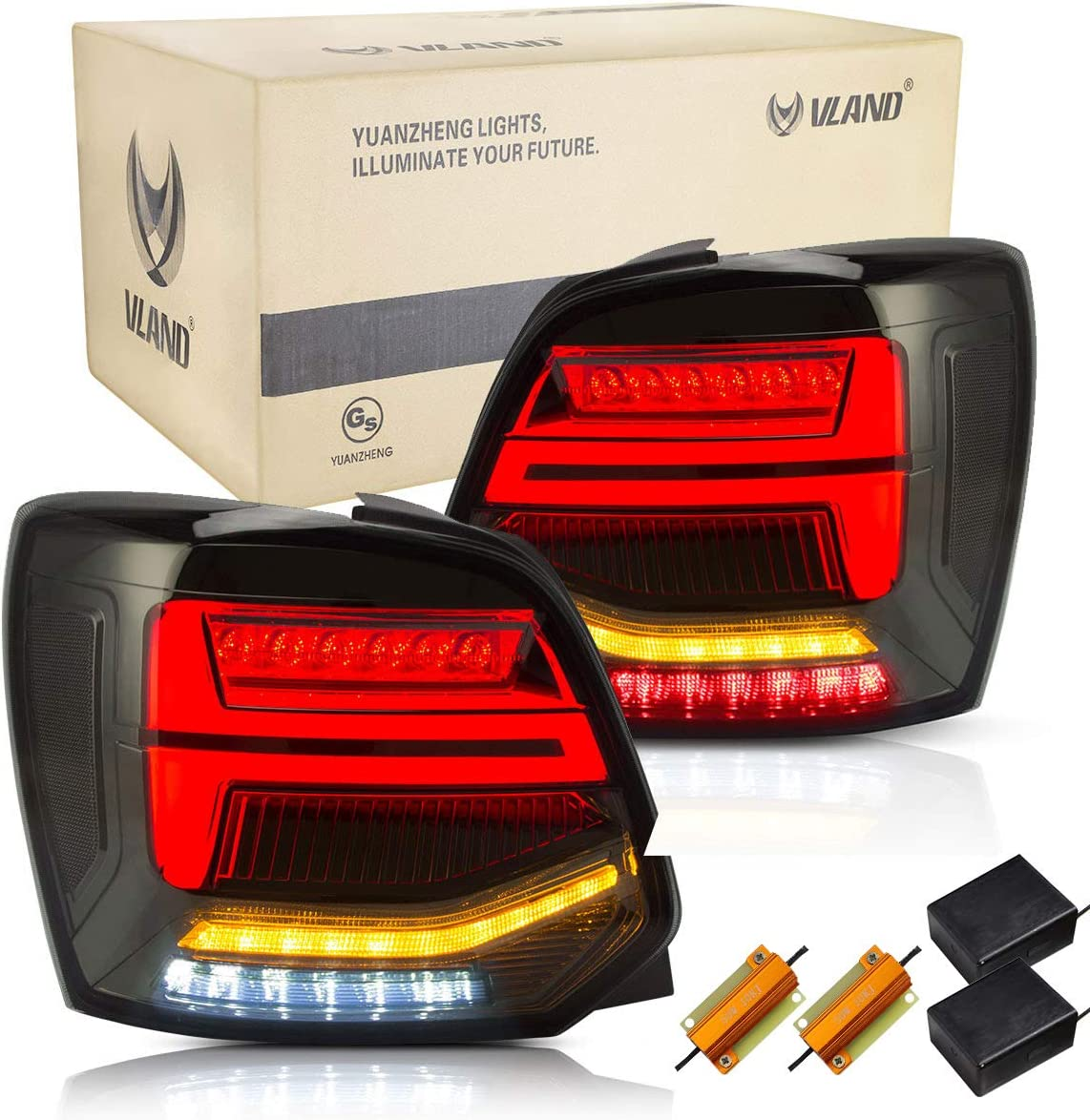 VLAND LED Rear Light for Polo MK5 6R 6C TSI 2009 2010 2011 2012 2013 2014 2015 2016 2017 2018 Tail Lights Lamp, with Dynamic Indicator,with Full LED Tech,Smoked,RHD(Driver is on the Right)