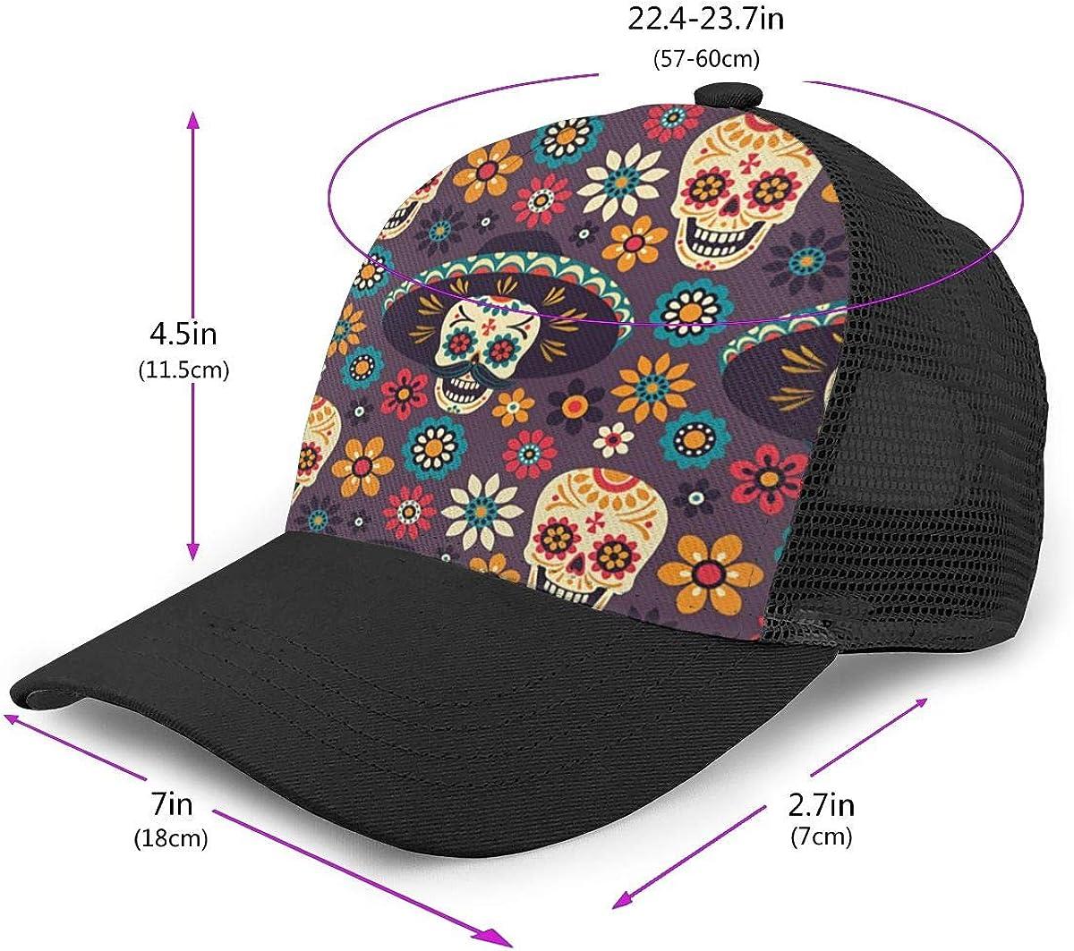 Adjustable Trucker Hat for Unisex Mens Skulls Wear Hats Flat Baseball Cap