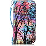 ISAKEN iPhone SE Case, iPhone 5S Flip Cover, Bookstyle Cell Phone Case Luxury Pu Leather Wallet Magnetic Strap Design Pouch with Card Holder - tree rainbow