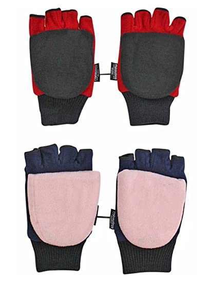 ca23cf4aba7 Red Black   Blue Pink 2-Pack Mens Fingerless Gloves With Mitten ...
