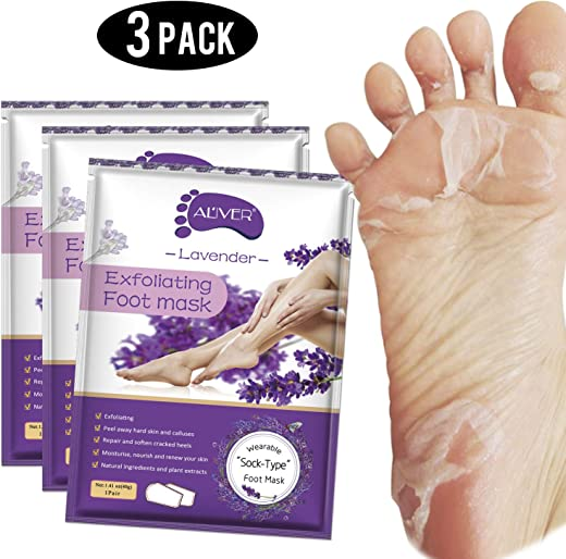 Foot Peel Mask 3 Pack, Exfoliator Peel Off Calluses Dead Skin Callus Remover,Baby Soft Smooth Touch Feet-Men Women (Lavender)