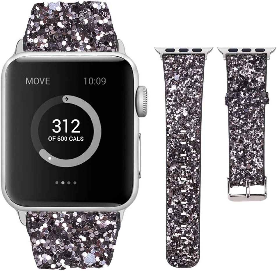 Moonooda Glitter Sparky Strap Women Wristband Sequins Replacement for Apple Watch 44mm 42mm 40mm 38mm Bling Smartwatch Band Strap Compatible for Series SE 6 5 4 3 2 1, Dark Grey