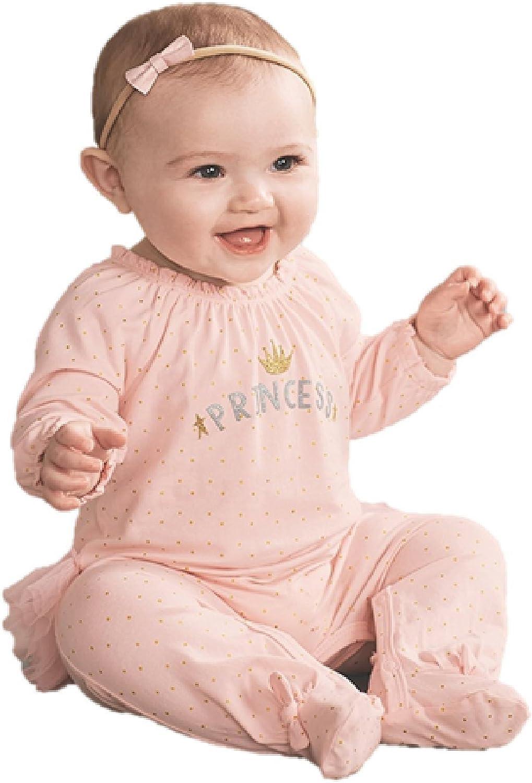 Infant Mud Pie Womens Princess Ruffle Long Sleeve Footed Sleeper