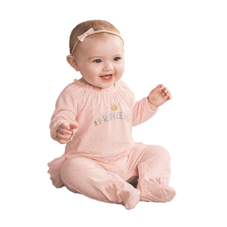 Mud Pie Womens Princess Ruffle Long Sleeve Footed Sleeper (Infant)
