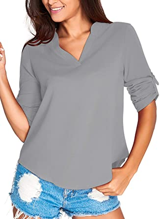 e3ed71311fc5 LOSRLY Women's 3/4 Long Sleeve T-Shirts Casual Work Blouse Office Top 8
