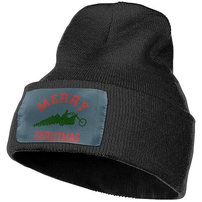 Poii Qon Merry Christmas Biker Beanie Hat Wool Skull Caps for Unisex ... 7cd0d89c160
