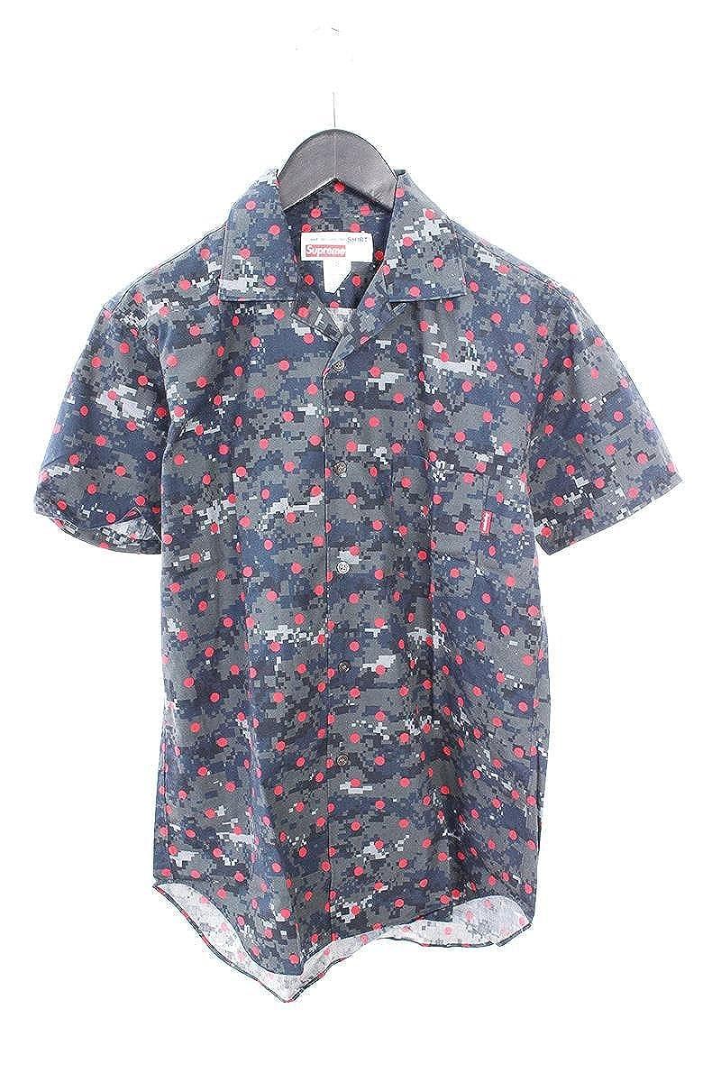 (シュプリーム) SUPREME ×コムデギャルソンシャツ/COMME des GARCONS SHIRT 【13SS】【Loop Collar Shirt】デジカモドット半袖シャツ(XS/ダークグレー調×レッド) 中古 B07FY8HXCG