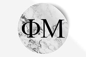"Phi Mu Sticker Greek Sorority Decal for Car, Laptop, Windows, Officially Licensed Product, Monogram Design 5"" x 5"" - White Marble"