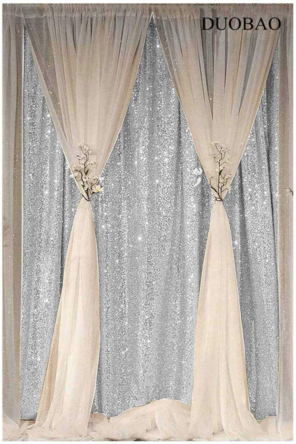 DUOBAO Sequin Backdrop Curtain 4FTx6FT Silver Glitter Background Silver Sequin Photo Backdrop Prom Party Decor~0613 by DUOBAO