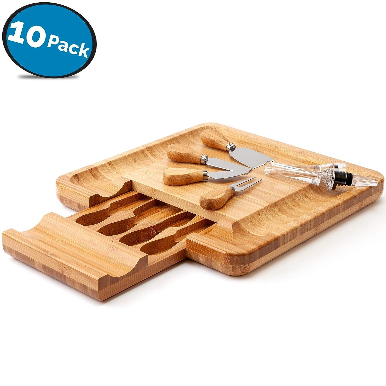 LVKH Piatto di Formaggi di bambù con Posate Cassetta portautensili con Set per versare Vino e sottobicchiere
