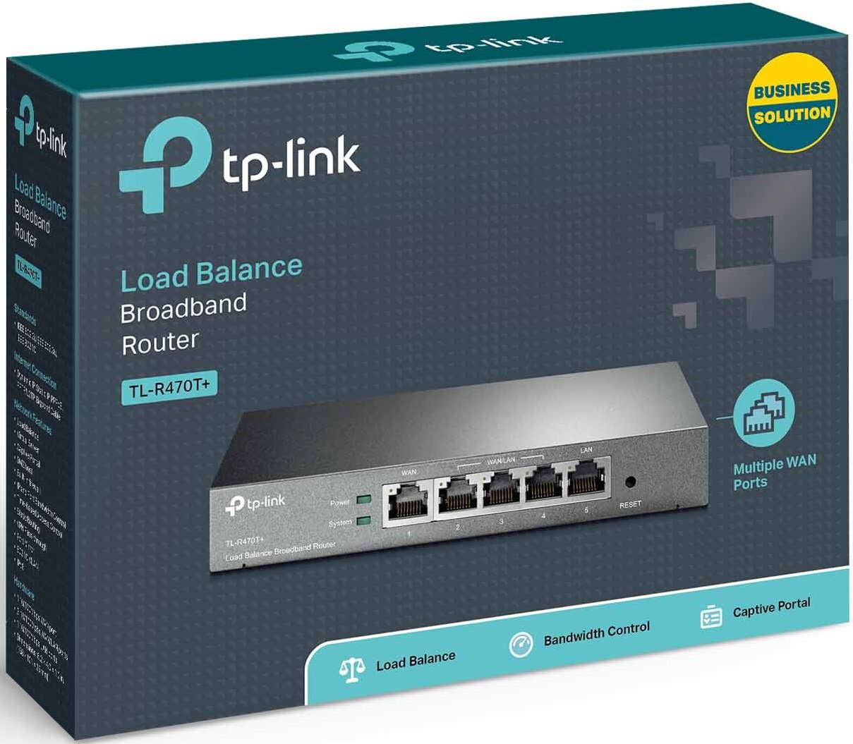 TP-Link SafeStream TL-R470T+ Fast Ethernet Load Balance Broadband Router, supports up to 4 WAN ports/VPN pass-through/ IPv6 routing