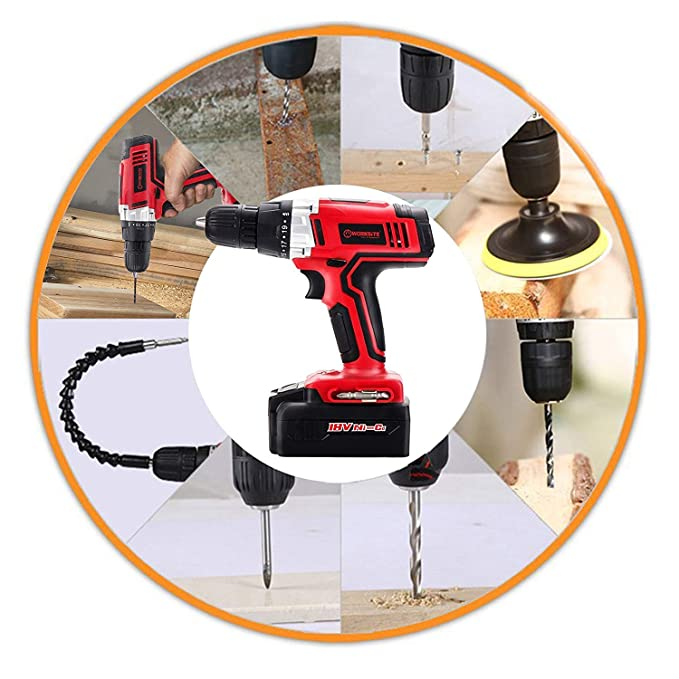 Cordless Drill, WORKSITE CD312-18N 18-Volt 1200mA Ni-cd Battery Powerful Cordless Electric Drill Built-in Light with 13 PCS Accessories Bits Set and ...