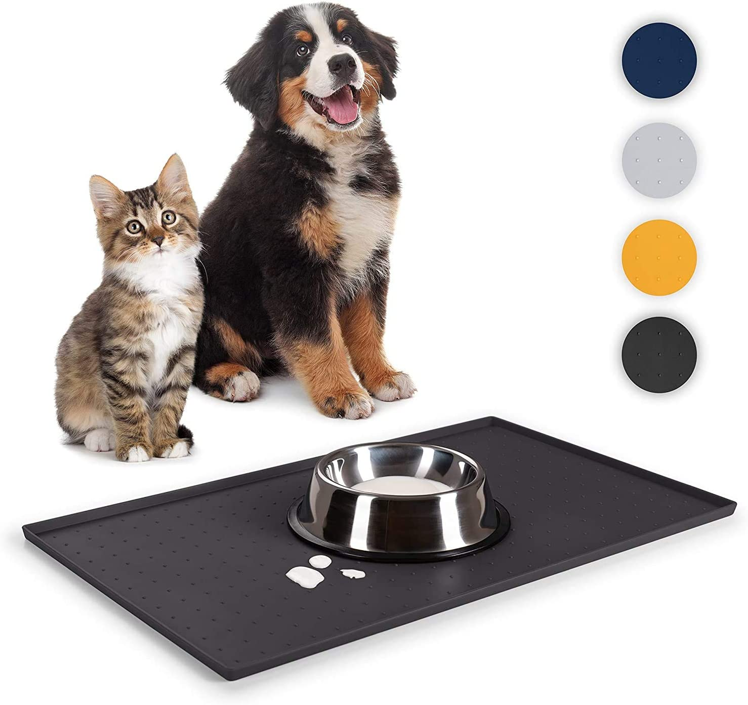 Food Mat - Dog Cat Bowl Mat for Food and Water - Lifetime Replacement Guarantee- Washable Silicone Non-Slip Waterproof Pet Food Mat for Puppy and Small Medium Large Animals