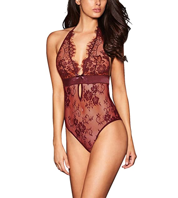 AnloveKiss Women Sexy Lingerie Black Eyelash Lace Chemise Babydoll Nightwear (2XL, Style 2-Wine Red)