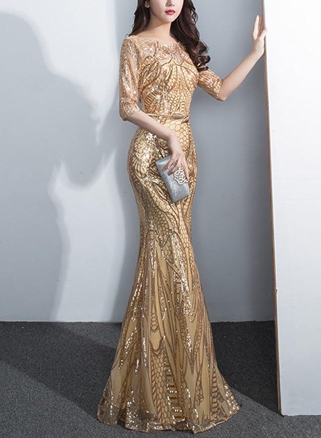 ASVOGUE Mujer Vestido de Fiesta Sirena Media-manga Cuello Redondo Adorno de Lentejuelas, dorado XL: Amazon.es: Ropa y accesorios
