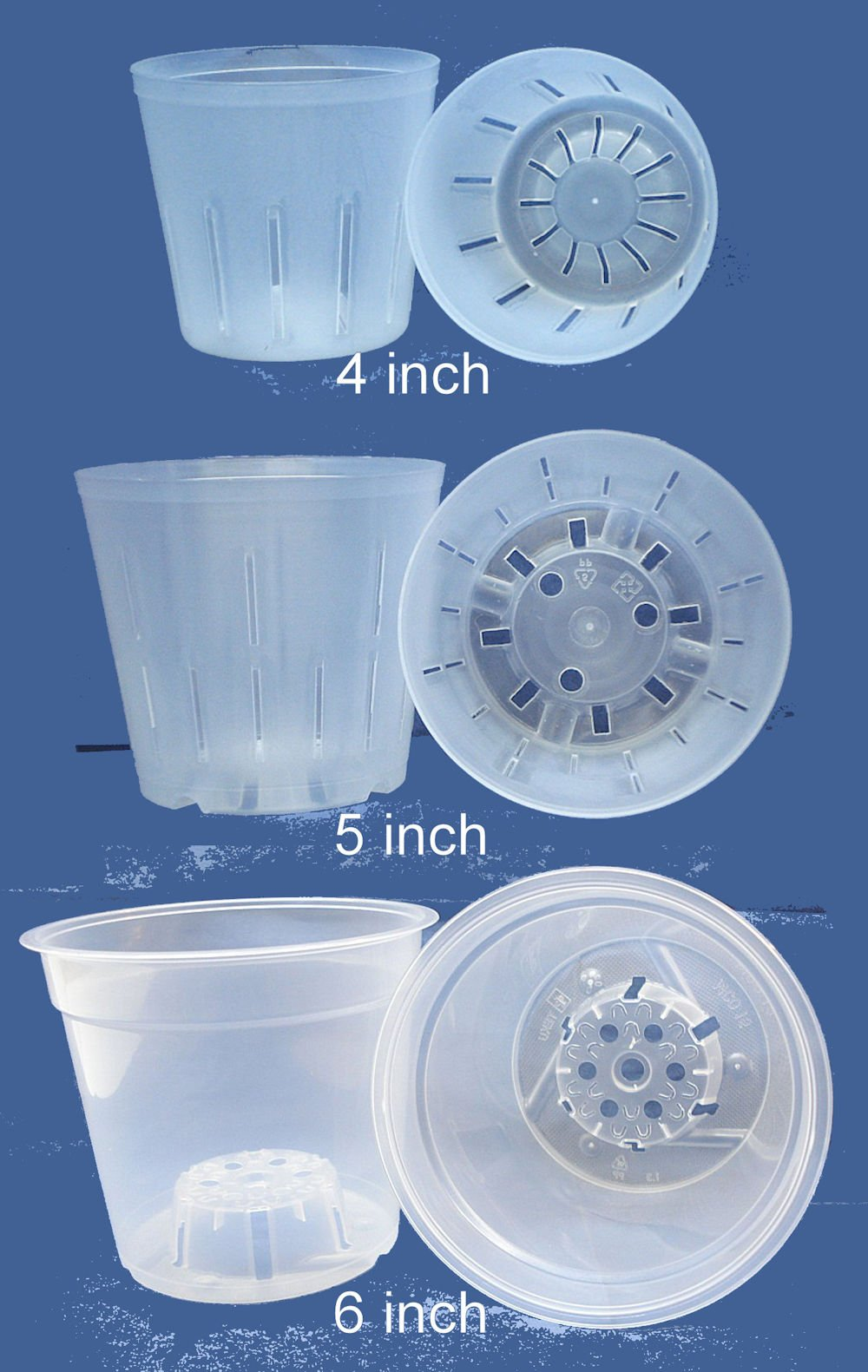 Clear Plastic Pot for Orchids Assortment 4inch, 5inch, 6inch with ID your Orchids booklet