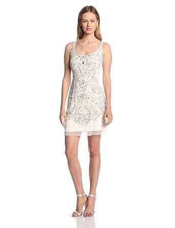 Amazon.com: Adrianna Papell Women's Sleeveless Short Beaded ...