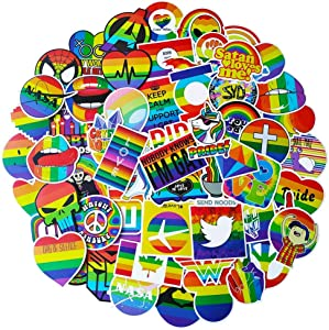 100 Pack Rainbow Stickers for Laptop, Gay Pride Colorful Rainbow Stickers for Water Bottle Bicycle Car Bumper Planner Skateboard Snowboard Fridge