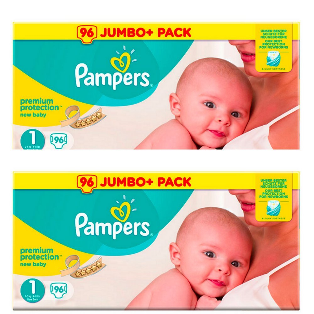 Pampers nouveau-né couches Taille 1 Premium Protection Giant Value Pack de 2 x 96 = 192 conçu spécialement pour votre Peau délicate de bébé Aetn
