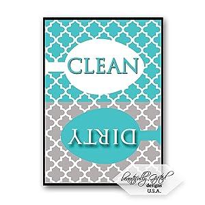 Dishwasher Magnet Clean Dirty Sign for Dishes - Elegant Quatrefoil Moroccan Trellis Modern Pattern - AQUA BLUE - 2.5 x 3.5 - Housewarming and Gag Gift Idea / Stocking Stuffers for Men Women & Teens