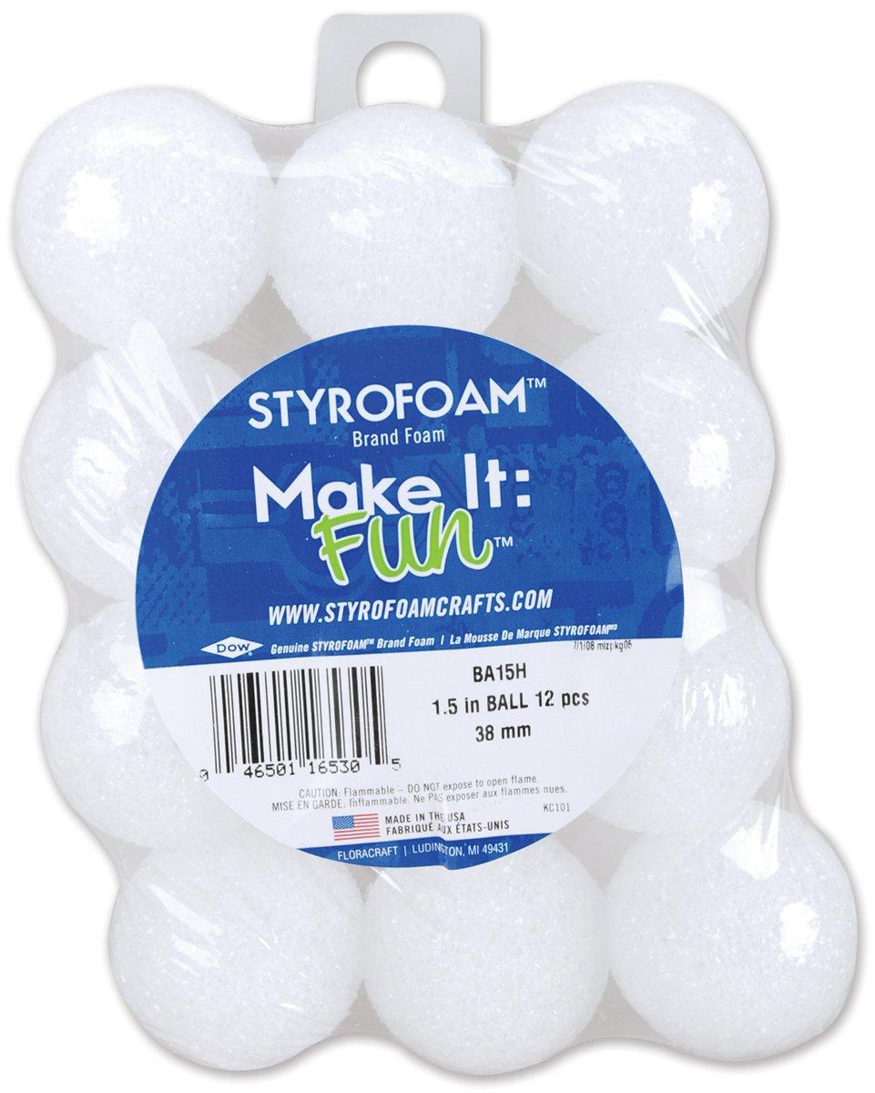Floracraft Styrofoam Balls Foam, 1.5-Inch, White, 12 Per Package BA15H
