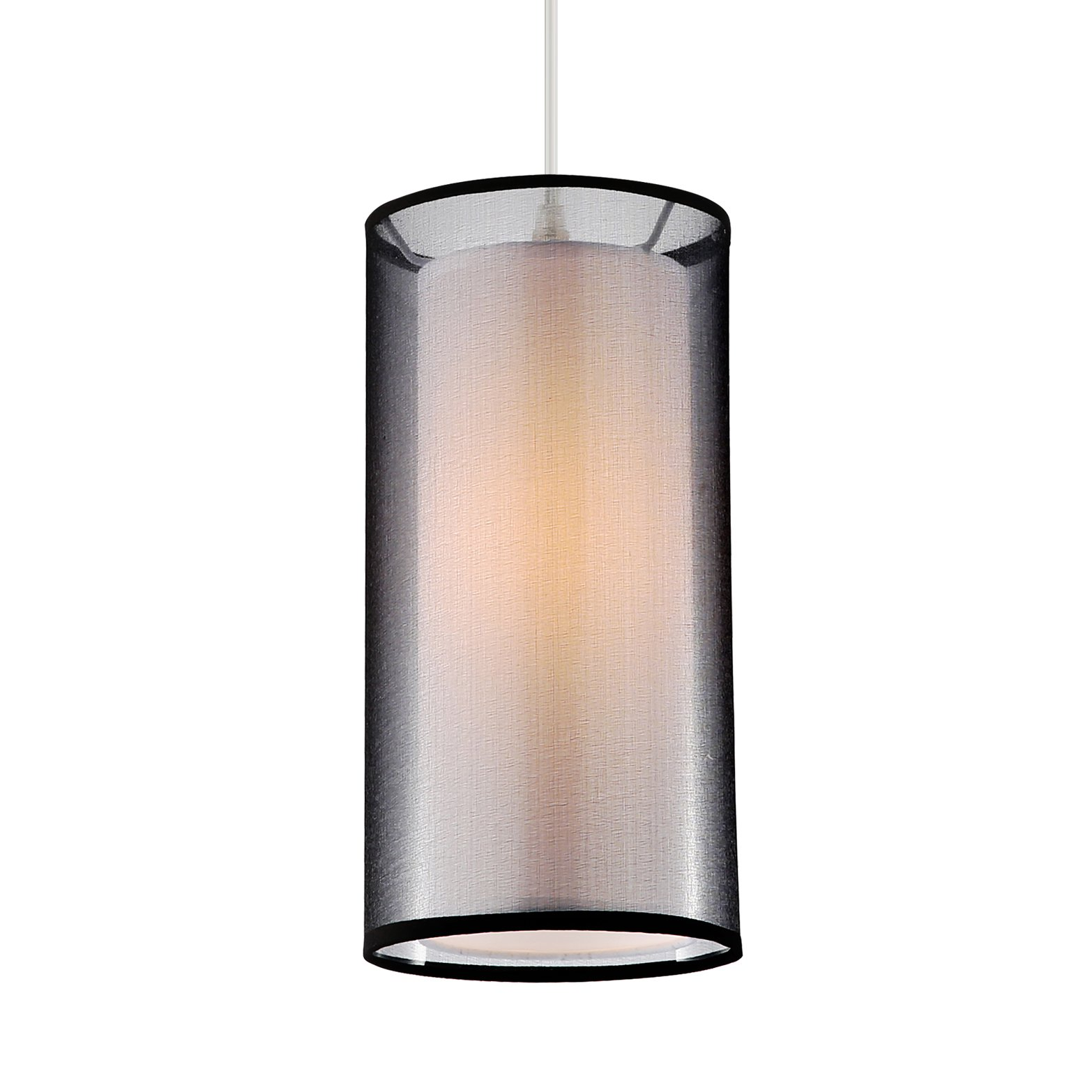 Light Society Medio Cylindrical Pendant Light, Black Double Fabric Shade, Contemporary Minimalist Modern Lighting Fixture (LS-C240-BK)