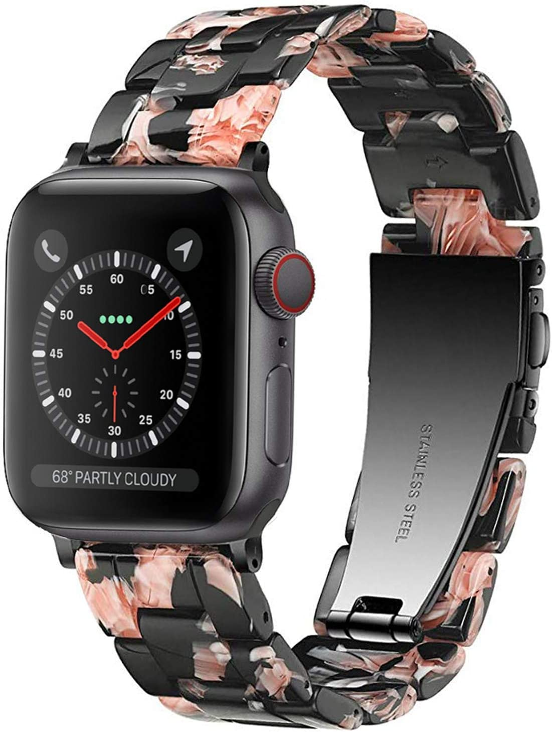 Light Apple Watch Band - Fashion Resin iWatch Band Bracelet Compatible with Copper Stainless Steel Buckle for Apple Watch Series SE Series 6 Series 5 Series 4 Series 3 Series 2 Series1 (Rose in Black, 38mm/40mm)