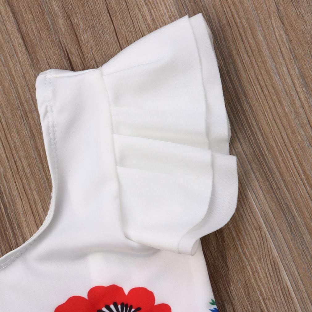 1-6T Aaaaamber Toddler Baby Kids Girls One Piece Swimwear Flower Fly Sleeve Swimsuit Bathing Suit
