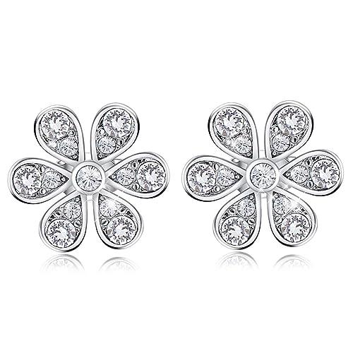 d7a5f84e2c458 CDE Daisy Stud Earrings for Women,Flower Stud for Girls 14K White ...