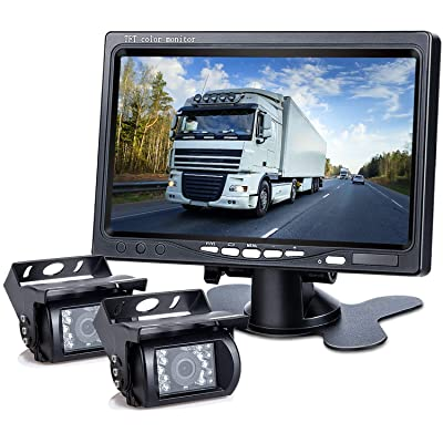 DVKNM Upgrade Dual Backup Camera Monitor Kit,1280X720P HD,IP69 Waterproof Rearview Reversing Rear View Camera 7'' LCD Reversing Monitor Truck/Semi-Trailer/Box Truck/RV — HD Transmission— (TZ102): Car Electronics