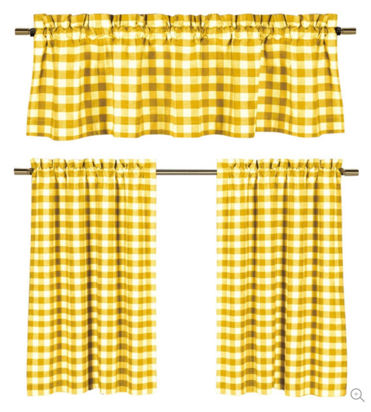 3 Pc. Plaid Country Chic Cotton Blend Kitchen Curtain Tier & Valance Set Yellow