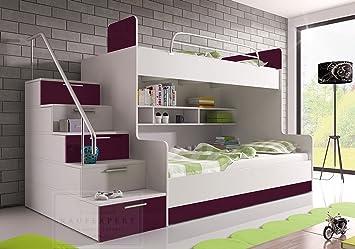 Etagenbett Doppelstockbett Günstig : Etagenbett violett hochglanz links bett jugendbett doppelstockbett