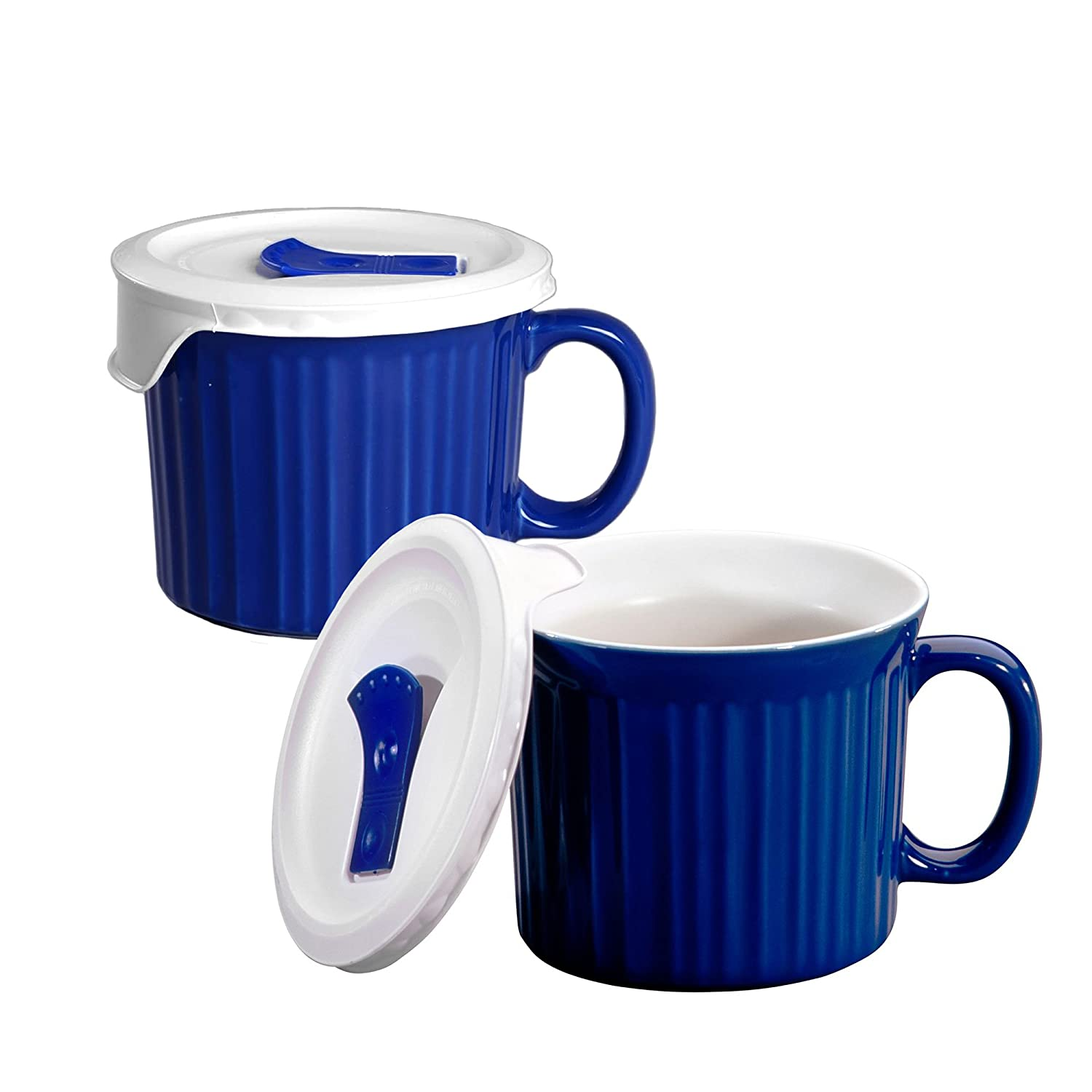 Corningware 20-Ounce Oven Safe Meal Mug with Vented Lid, Blueberry, Pack of 2