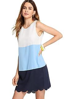 SheIn Womens Casual Chiffon Sleeveless Colorblock Scalloped Tunic Dress
