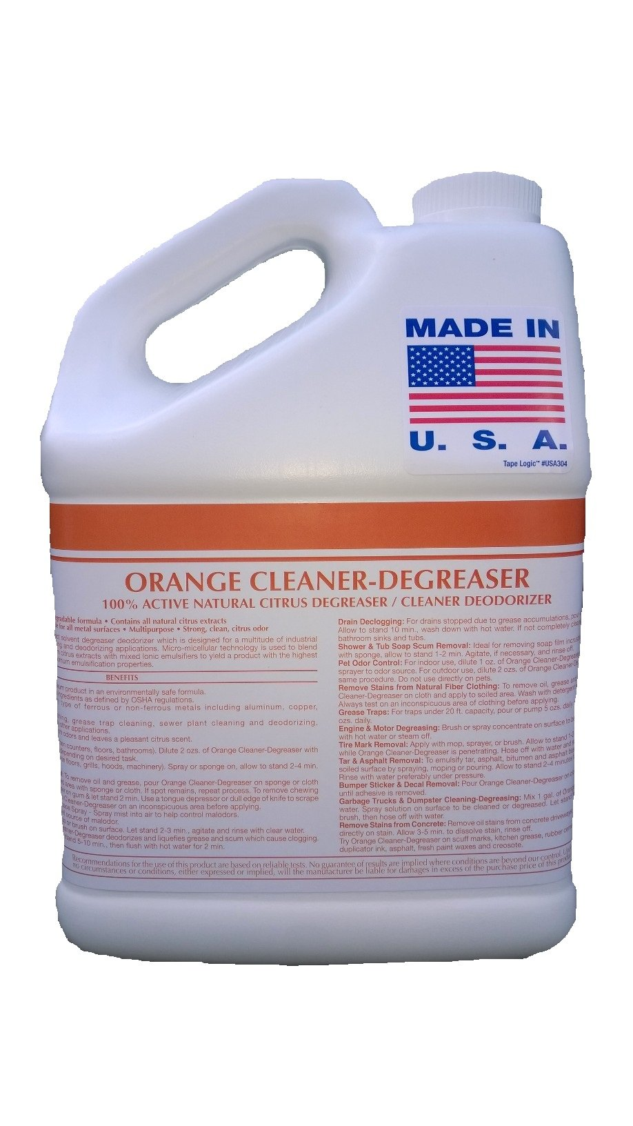 Patriot Chemical Sales 1 Gallon Orange Cleaner Degreaser 100% Active Natural Citrus Degreaser Cleaner Deodorizer Industrial Strength Concentrate