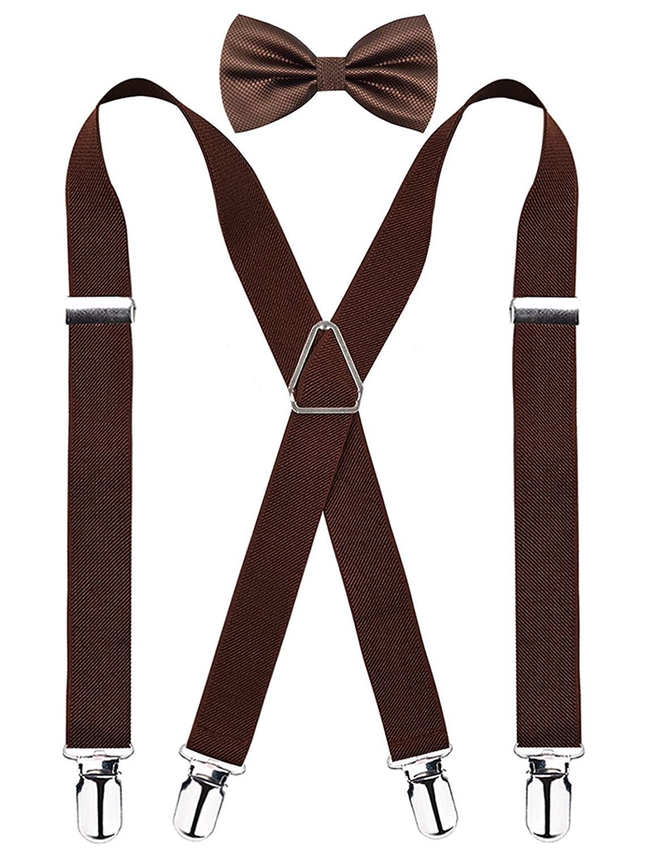 Alizeal 2.5CM Men's Solid Formal Banded Bow tie & Suspenders Sets - Maroon KM078-Maroon