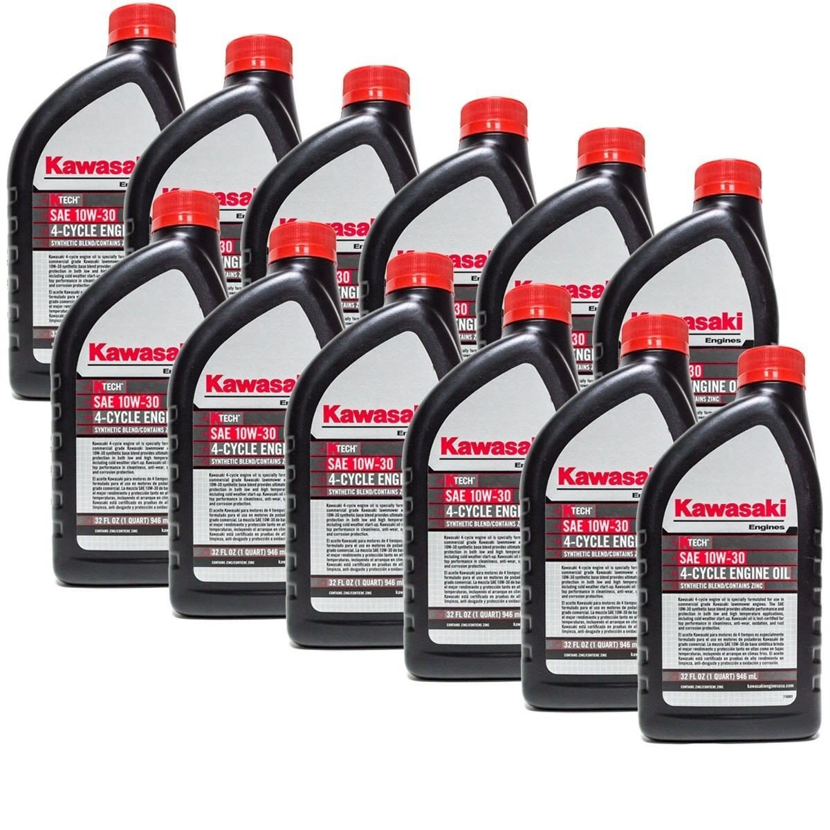 Kawasaki 12PK Quart Genuine OEM 4 Cycle Engine Oil K-TECH SAE 10W-30 99969-6081 by Kawasaki