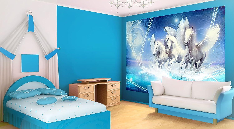FORWALL Vlies Fototapete Tapete Tapete Tapete Vliestapete Dekoshop Pegasus auf blauem Hintergrund AD588VEXXXL (416cm x 254cm) Photo Wallpaper Mural be583a